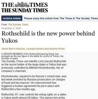 Rothschild is the new power behind Yukos