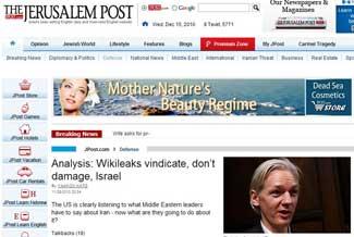 Analysis: Wikileaks vindicate, don't damage, Israel