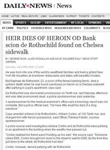 HEIR DIES OF HEROIN OD Bank scion de Rothschild found on Chelsea sidewalk